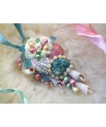 Sea Shell Floral Pendant, Flower Hair Clip, Shell Sash Clip, Sea Glass B... - $59.00