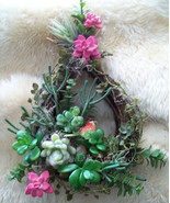 Faux Succulent Wreath Tear Drop Cactus Wall Hanging REDUCED Southwestern... - $55.00