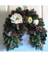Magnolia n Fruit Swag~Flexible Wall or Entry Decor~Wintry Fall~Decorativ... - $149.00