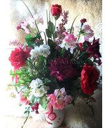 Silk Floral Arrangement I Love You Heart White Ceramic Vase Valentine's ... - $95.00