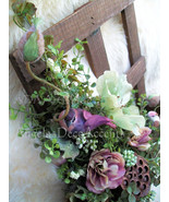 Window Box Arrangement Designer Silk Floral Victorian Wall Hanging Cotta... - $72.00