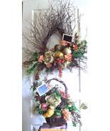 Wispy Floral Wreath Corner Bistro Tear Drop Gourmet Food +Silk Flower Wa... - $289.00