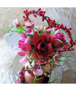 Floral Topiary Arrangement, Valentines Mom's Day, Desktop Pip Berry Hear... - $35.00