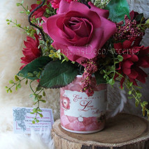Silk Floral Arrangement Vintage Style Love Mug Any Occasion Sweetheart Burgundy - $55.00