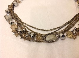 NEW Brass Toned Multistrand Necklace Faceted Crystals Adjustable Lobster Clasp image 3