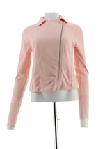 H Halston French Terry Motorcycle Jacket Ribbed Zip Rose Blush 4 NEW A28... - $30.67