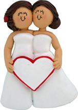 LGBT Same Sex Wedding Lesbian Personalized Christmas Ornament, 2 Brunett... - $12.80