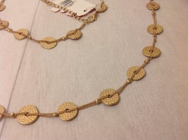 """Geranium Gold Toned Long Necklace 40"""" Medallions NWT Adjustable Lobster Clasp image 3"""
