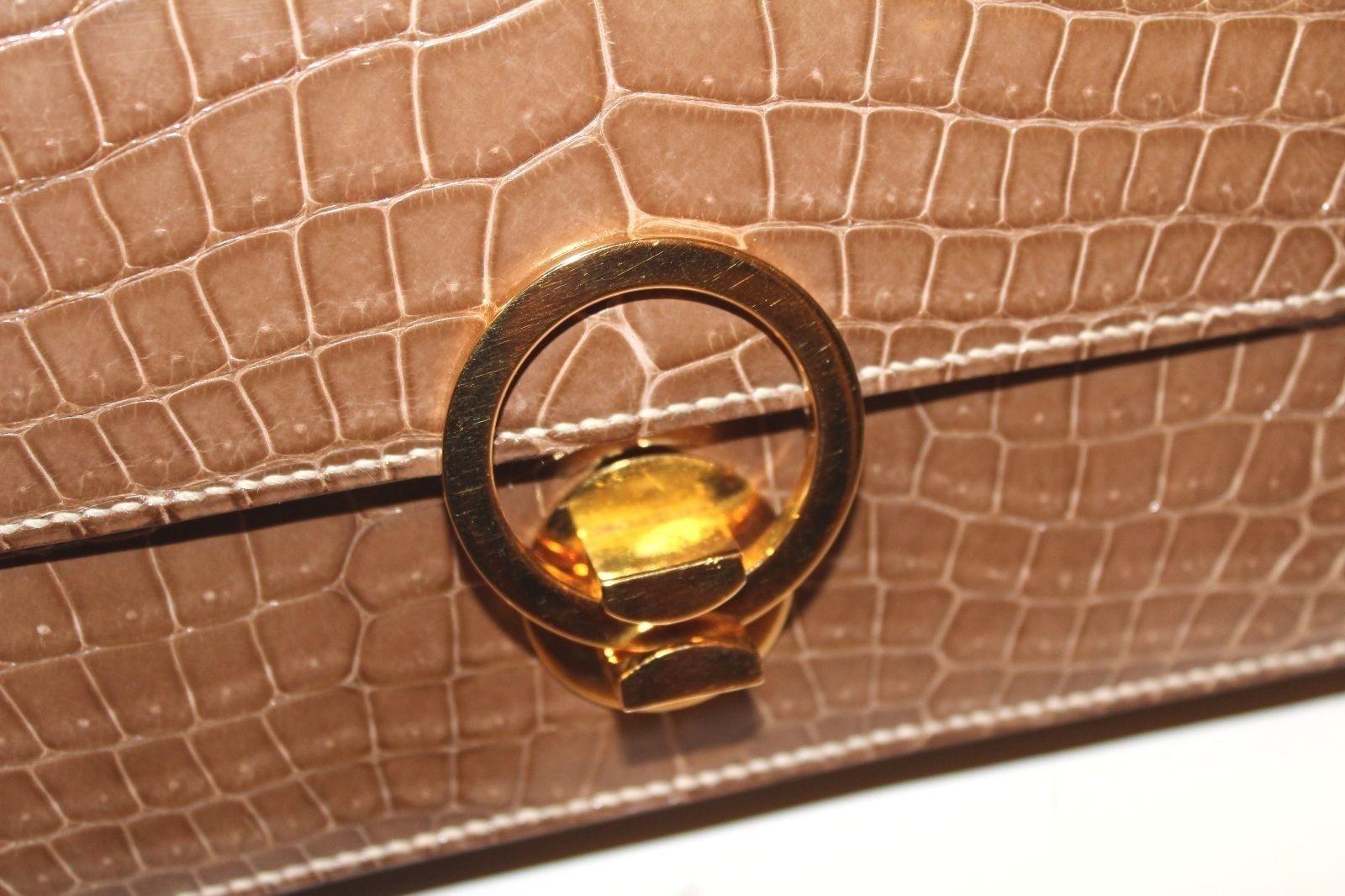 Vintage Hermes  Alligator Crocodile  Handbag Purse clutch image 4