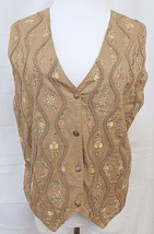 Tantrums Vest Tan Cotton Floral Embroidered Braided Steampunk size Mediu... - $19.77