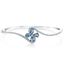 Sterling Silver Natural Blue Topaz Petal Flower Bangle Bracelet - £148.87 GBP