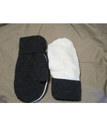 Handmade Recycled Wool Fleece Lined Mittens Grey Ladies/Teens Size M/L - $18.81