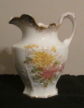 """WATER PITCHER DECORATED """"CHRYSANTHEMUMS"""" EDWIN ... - $25.41"""