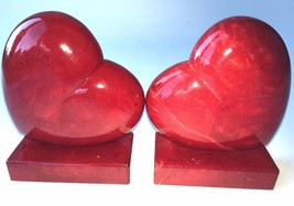 Alabastri Ducceschi Red Heart Book Ends Italian Alabaster Carving Stone ... - $64.34