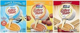 Coffee-Mate Hazelnut,Original & French Vanilla Liquid Coffee Creamer 24 ct Singl