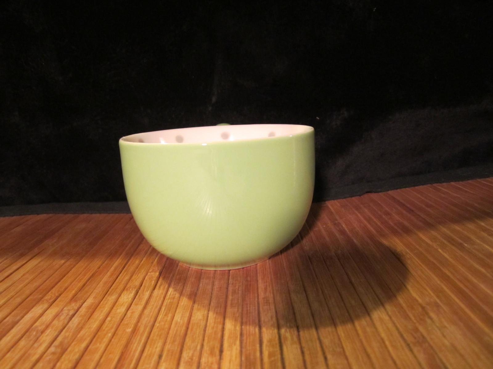 2005 Starbucks Light Green Coffee Mug Tea Cup Grey Polka Dots/Pink Flower Inside