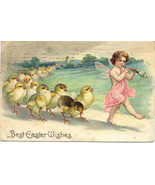 Best Easter wishes 1909 cherub Post Card - $7.00