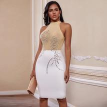 Nude High Neck Sleeveless Over Knee Crystal Bandage Dress image 2