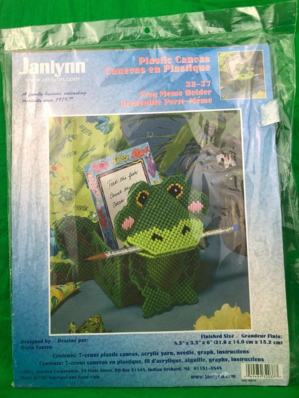 Primary image for JANLYNN Green FROG MEMO HOLDER Plastic Canvas New