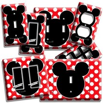 MICKEY MOUSE EARS RED POLKA DOTS BABY NURSERY LIGHT SWITCH OUTLET WALL P... - $7.99+
