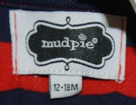 MudPie Puppy Polo One Piece Red Blue Cambray Collar 12 to 18 Months image 5