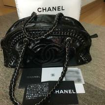 CHANEL Shoulder Bag Black Patent Leather Matelasse Logo Zipper Chain Strap B5169 - $1,051.38
