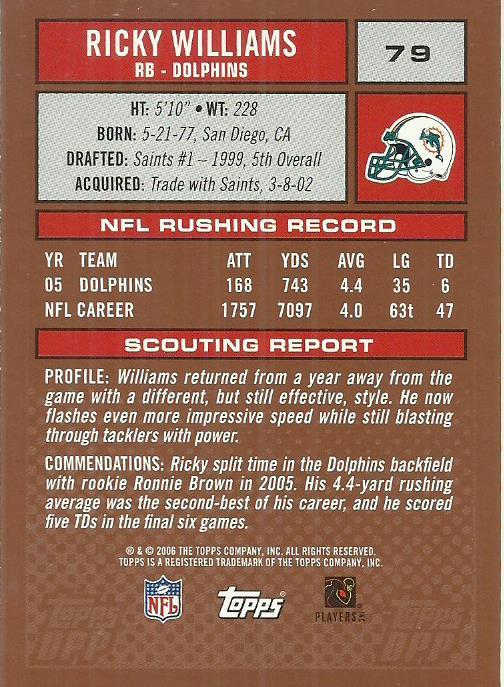 2006 Topps Draft Picks and Prospects #79 Ricky Williams