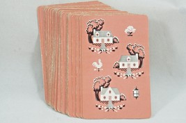 Vintage Whitman Playing Cards Pink Country Homes 52 Card Deck - $9.28