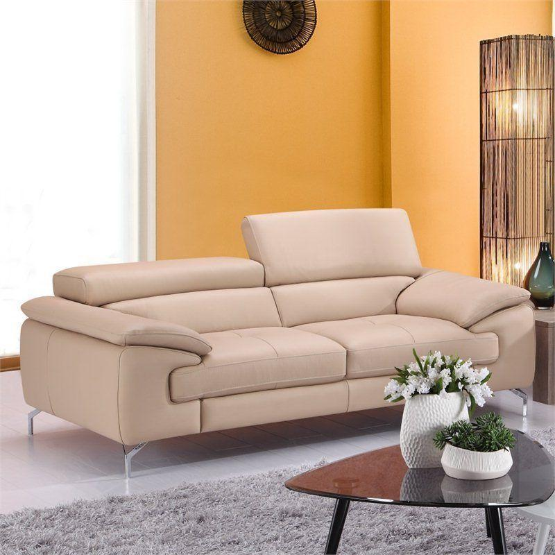 J&M Furniture A 973  ItalianPremium  Leather Sofa Genuine Modern in Peanut