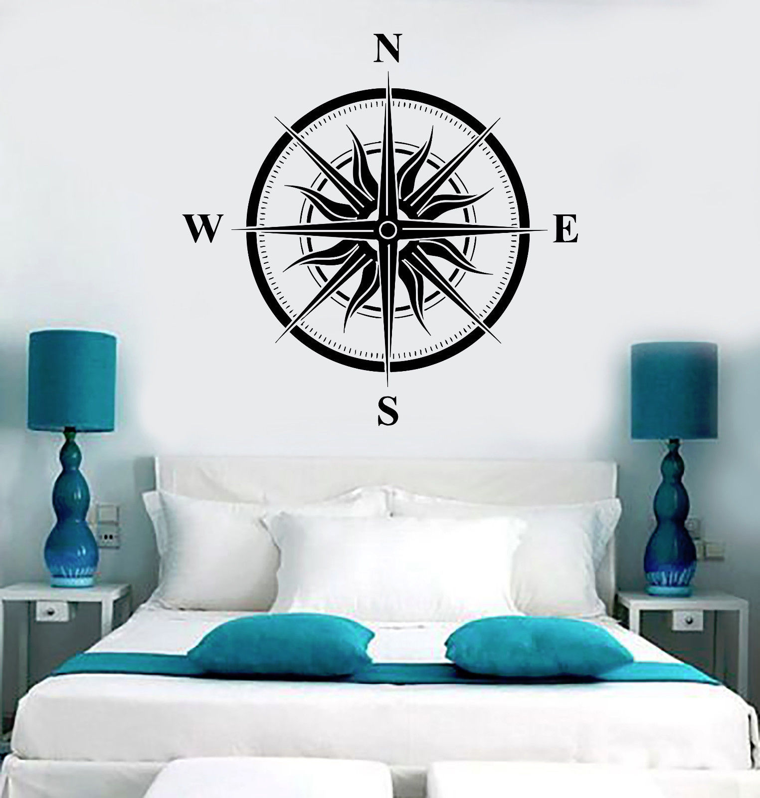 Vinyl wall decal wind rose sun nautical house interior for Interieur stickers