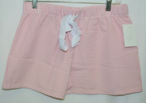 Ellie O Womens Seersucker Lounge Shorts Pink Stripe Size Medium