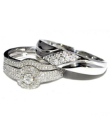 His & Her Trio Engagement Ring Set Round Cut CZ 10k White Gold Plated 92... - $150.20