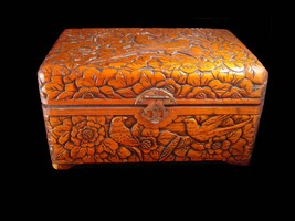 Antique chinese box Victorian carved bird box sweetheart chest ornate ba... - $245.00