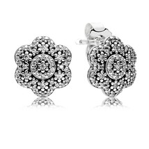 925 Sterling Silver Ice Floral with Clear CZ Stud Earrings QJCB1072 - $21.99