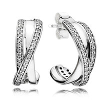 925 Sterling Silver Entwined with Clear Cz Fashion Earrings QJCB1071 - $24.99