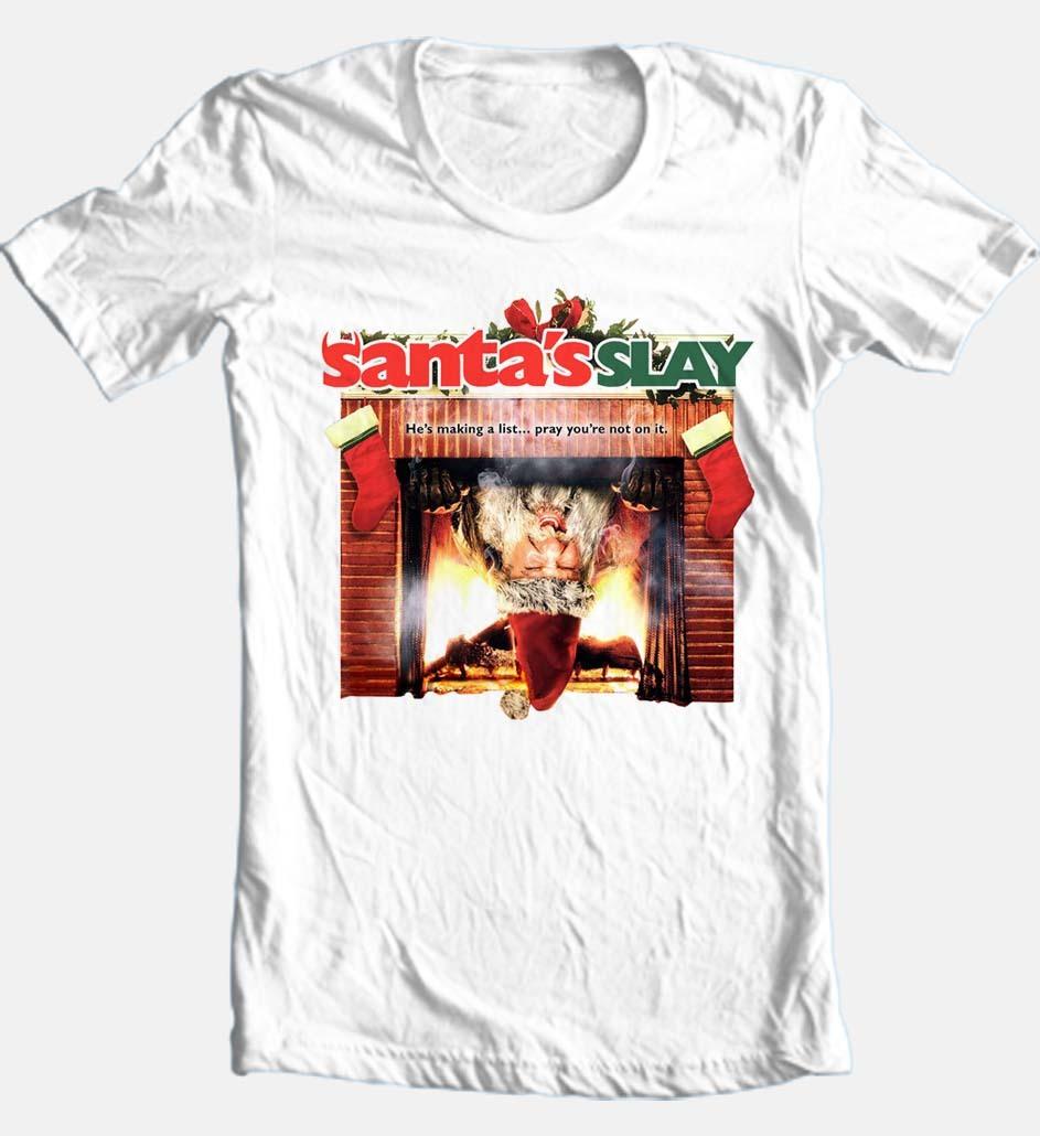 Santas slay t shirt retro christmas horror moive buy online graphic tee store