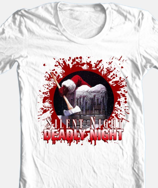 Silent Night Deadly Night  T-shirt Christmas horror movie 100% cotton white tee