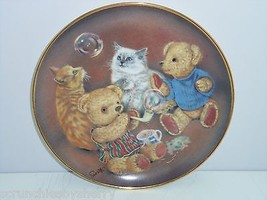 Teddy Bear Kitty Bubble Buddies Sue Willis Collector Plate Franklin Mint Retired - $59.95