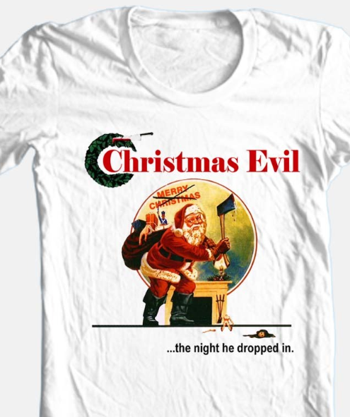 Christmas Evil T-shirt Christmas Santa horror movie 100% cotton white tee