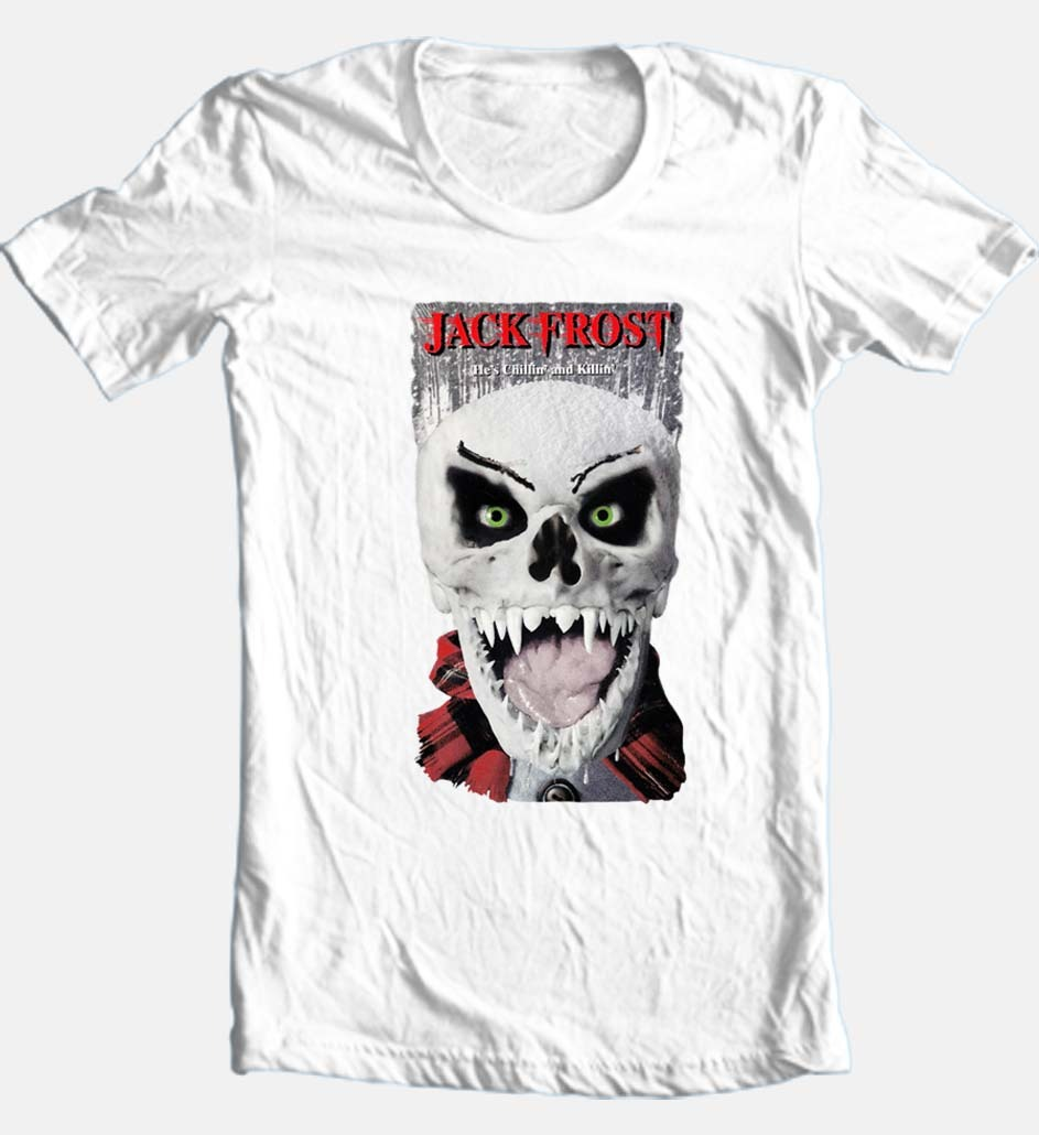 Jack Frost T-shirt Christmas Santa horror slasher movie 100% cotton white tee