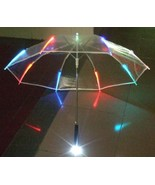 New Outdoor Light Up LED Flashing Colorful Transparent Umbrella with Fla... - $16.50