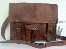 Messenger bag for men leather women satchel shoulder laptop brown comput... - $45.14