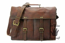 Messenger bag for women leather shoulder laptop men satchel laptop brown... - $59.99