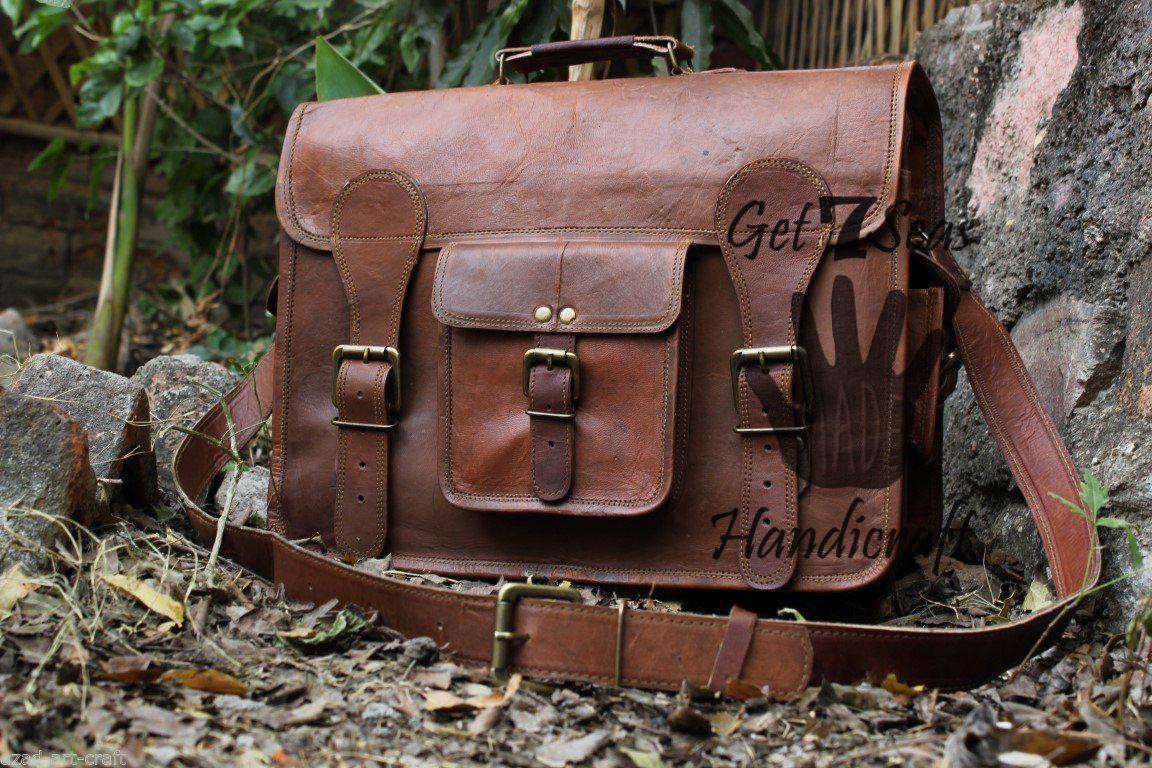 Leather Messenger bag men's satchel shoulder women briefcase laptop vintage bags