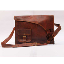 Messenger bag leather women satchel laptop men's shoulder brown vintage ... - $55.04