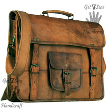Men's genuine leather vintage laptop backpack rucksack messenger bag sat... - $69.89