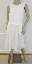 Nwt Adrianne Papell Sleveless Lace Popover Cocktail Flare Dress Sz 12 Cr... - $74.20