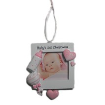 BABY'S GIRL'S FIRST CHRISTMAS FRAME PERSONALIZED CHRISTMAS ORNAMENT GRAN... - $11.81