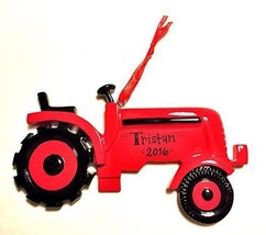 Red Tractor Personalized Christmas Tree Ornament Gift Present - $11.81