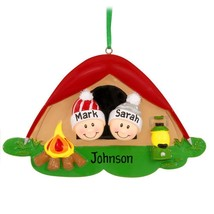 Pop Up Tent Family of 2 Two Camping Personalized Christmas Ornament Gift... - $14.78